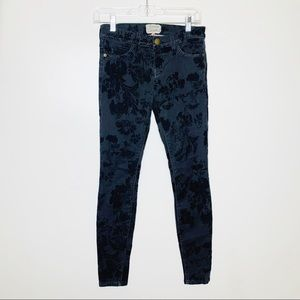 Current/Elliott Skinny Black Velvet Floral Jeans